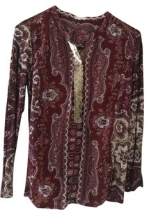 Anthropologie Detailed Print Top Maroon paisley