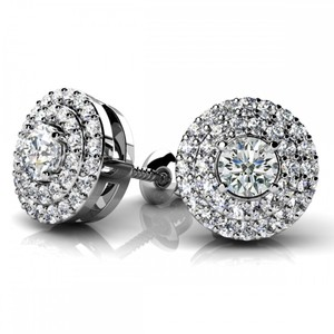 Avi and Co 0.87 cttw Round Brilliant Cut Diamond Double Halo Stud Earrings 14K White Gold
