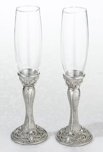 Lillian Rose Antique Silver Toasting Flutes with Matching Serving Set Reception Decoration