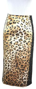 Dina Bar-El Leopard Print Stretch Skirt Multi Color