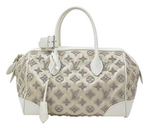 Louis Vuitton Satchel in Grey Perle Monogram Bouclettes Lambskin Patent