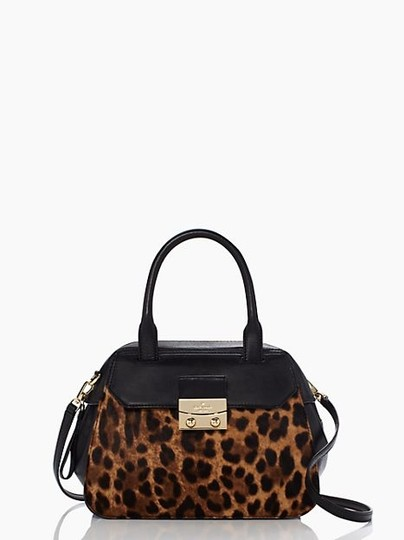 Kate Spade Purse Discount Tote Outlet Satchel in Black and Leopard Print