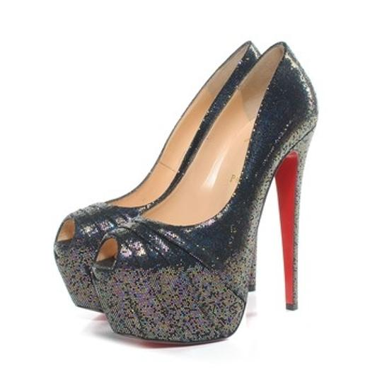 Christian Louboutin Peeptoe Stiletto Daffodile Glitter Platform Drapesse Embellished Hidden Platform New 39 9 160 160 Mm Blue Gold Silver Multi-color Pumps
