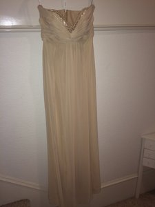 David's Bridal Champagne Strapless Sheer Chiffon F14867 Dress