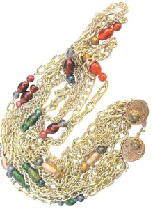 Parma Pamar Signed Multi-Chain & Italian Bead Necklace