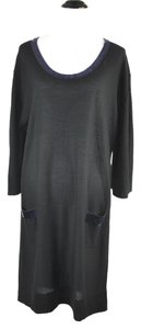 Sonia Rykiel Wool Blue Sequin Trim Xl Tunic