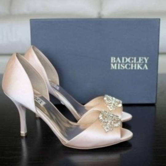 Badgley Mischka Natural Satin D'orsay Pump Golden Jeweled Peep-toe Formal Size US 8
