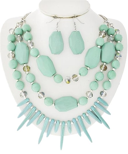 HANNAH COLLECTION Turquoise Acrylic & Stone Ab Glass Crystal Necklace & Earrings
