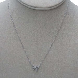 Tiffany & Co. Tiffany & Co. 18k White Gold & Diamond Metro bow Pendant Necklace