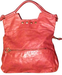 Foley + Corinna Leather Studded + Leather Tote in coral orange