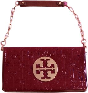 Tory Burch Reva Gold Faux Patent Lux-t Clutch Shoulder Bag