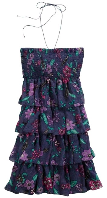 American Eagle Outfitters short dress Blue Multi Strapless Halter Ruffle on Tradesy