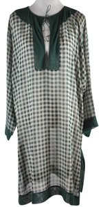 Jean-Paul Gaultier Soleil Green Check Print Silk Tunic, Cover up, Kaftan Size M