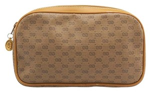 Gucci Gucci Vintage Beige GG Coated Canvas & Leather Cosmetic Bag (85244)