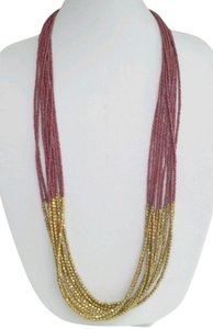 Natasha Couture Natasha Couture-Gold Druzy Beads w/Mauve Bead Multi Strand Necklace. 36