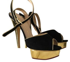 Charlotte Olympia Black/Gold Platforms