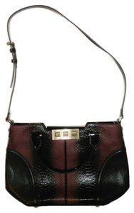 Anne Klein Black Snakeskin Gold Shoulder Bag
