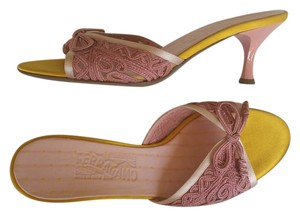 Salvatore Ferragamo Slides Lace Kitten Heels Pink Sandals