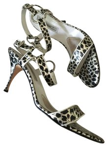 Brian Atwood Silver/Black/White Sandals