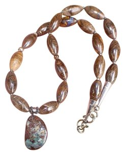 Other Amazing Sterling Silver Natural Australian Boulder Opal Necklace