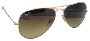 Ray-Ban New Ray-Ban Sunglasses RB 3025 Large Metal 112/85 58-14 Matte Gold Aviator Frame w/ Brown Gradient Lenses