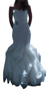 Vera Wang White Stretch Silk Mikado and Silk Organza Ethel Modern Wedding Dress Size 2 (XS)