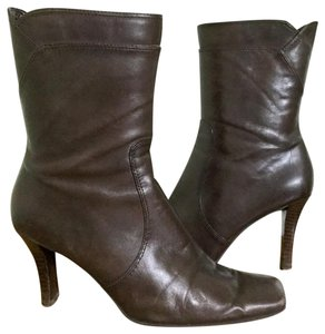 Nine West Heels Leather Ankle Square Toe Brown Boots