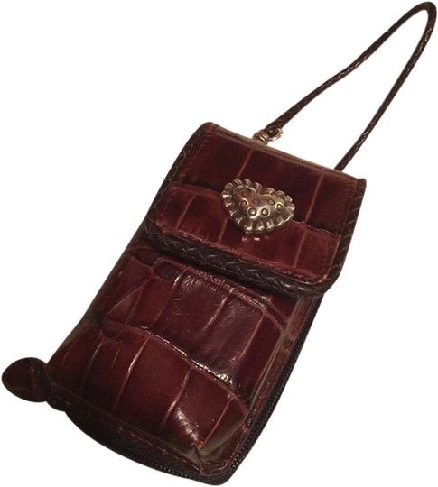 PRICE JUST DROPPED/ BRIGHTON Wristlet in Brown Croc w Silver Hardware
