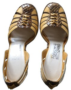 Salvatore Ferragamo Brown/yellow Wedges