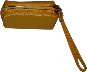 New Double Sided Leather Wristlet in gold