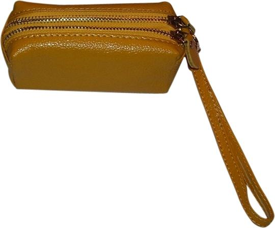 Other New Double Sided Leather Wrist Strap Fully Lined Wristlet in gold