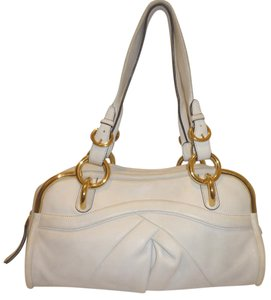 B. Makowsky Leather Lined Supple White Dust Shoulder Bag