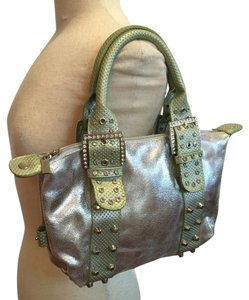 Charm and Luck Satchel in Silver With Mint Green