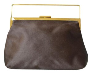 Gucci Satin Gold Brown Clutch