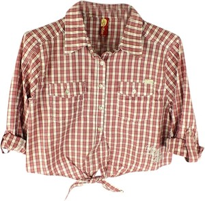 Apple Bottoms Plus Fashions Rockabilly Button Down Shirt New Size: XL Red, White, Black & Tan