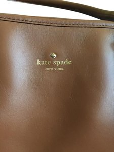 Kate Spade Leather Gold Embossed Tote in Tan