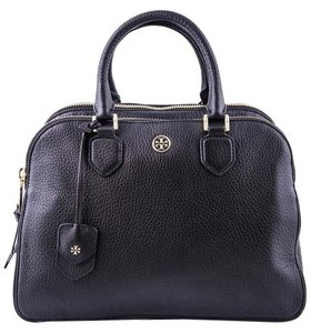 Tory Burch Pebbled Leather Triple Zip Entry Satchel in Black