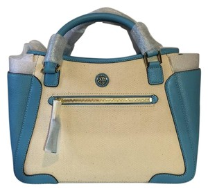 Tory Burch Satchel in Blue And Cream