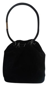 Gucci Suede Classic Summer Silver Hardware Satchel in Black