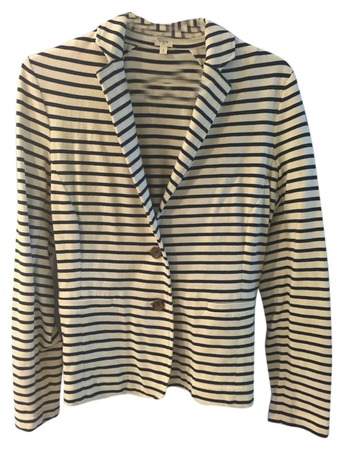 Preload https://item1.tradesy.com/images/jcrew-white-and-navy-striped-blazer-size-4-s-15698860-0-1.jpg?width=400&height=650