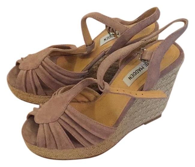 Steve Madden Blush Suede Mammbow Wedges Size US 7.5 Regular (M, B) Steve Madden Blush Suede Mammbow Wedges Size US 7.5 Regular (M, B) Image 1