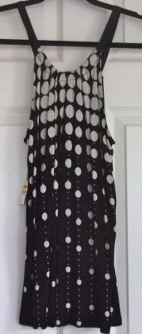 INC International Concepts Polka Size S Rayon Top Black & Beige