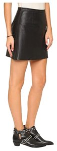 cupcakes and cashmere Leather Mini Mini Skirt BLACK