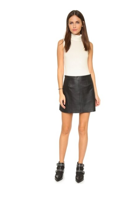 cupcakes and cashmere Leather Mini Mini Skirt BLACK Image 2