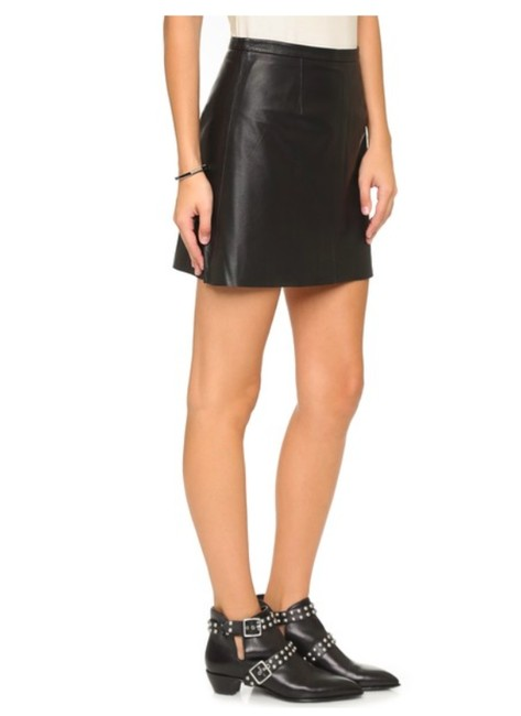cupcakes and cashmere Leather Mini Mini Skirt BLACK Image 4