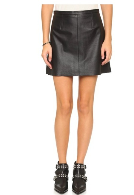 cupcakes and cashmere Leather Mini Mini Skirt BLACK Image 5