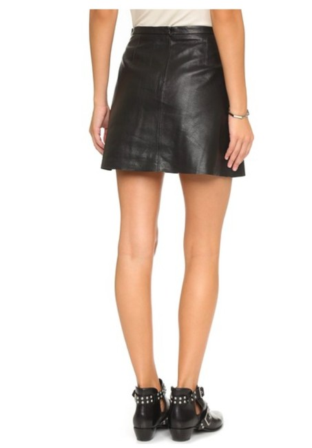 cupcakes and cashmere Leather Mini Mini Skirt BLACK Image 6