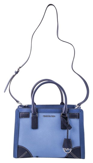Preload https://img-static.tradesy.com/item/15699271/michael-kors-two-toned-dillon-blue-saffiano-leather-satchel-0-1-540-540.jpg