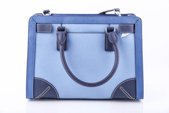 Michael Kors Two Toned Saffiano Leather Dillon Satchel in Blue