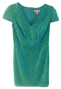 Lilly Pulitzer short dress teal blue, metallic Pullitzer on Tradesy